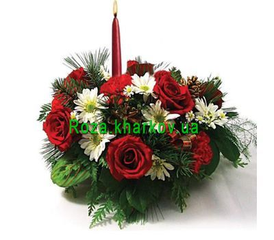 """""""New Year's composition with candles"""" in the online flower shop roza.kharkov.ua"""