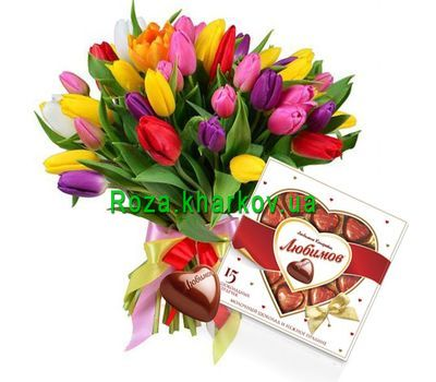"""Tulips with a heart of chocolates"" in the online flower shop roza.kharkov.ua"