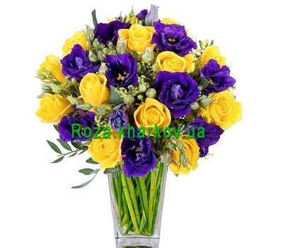 """Contrast bouquet of yellow roses and violet eustomas"" in the online flower shop roza.kharkov.ua"