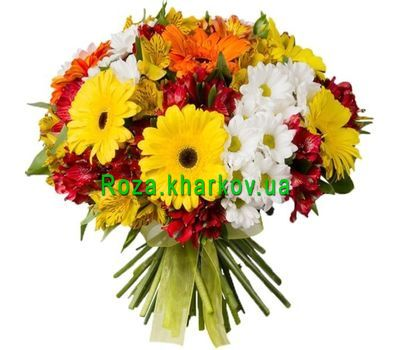 """""""Colorful bouquet of gerberas, alstroemerias and chrysanthemums"""" in the online flower shop roza.kharkov.ua"""
